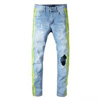 amiri Tasarımcı erkekler kot kot pantolon erkek lüks kot moda markası siyah pantolon, mavi kot hip hop sokak stili sıcak satış ışık çizgili