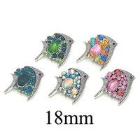 Pescados de la manera Nuevo componente w457 18 mm Cristal Metal 3D Snap Botón para la pulsera intercambiable collar resultados de la joyería de las mujeres Accessorie