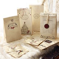 De navidad de papel kraft Partido Galletas Presente de lujo bolsa de regalo Bolsa de 8 piezas de regalo de Navidad Bolsa + 1xhemp cuerda 12 PC Etiqueta de 2pcs + Colgantes