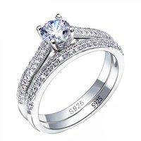 925 anillos de plata para mujeres Diseño simple Doble apilable Joyería de moda Conjuntos nupciales Accesorio de anillo de compromiso de boda