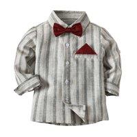 Cute Boys Gentleman Bow Shirts Tees Colore grigio Stripes Classic Fashion Top Western Children Boys primavera autunno camicetta