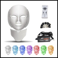 Epack 7 couleurs Led électrique masque facial Masques visage machine luminothérapie acné Masque cou Masque de beauté Led Led Photon thérapie