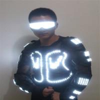 T24 gesellschaftstanz beleuchtete kostüme führte kostüm bühnentanz trägt dj disco roboter rüstung kleidung leuchtende party requisiten zeigen anzüge leistung