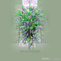 Grüne Murano Lampen Kronleuchter Pendelleuchte Vintage Frosted LED Hand Geblasenes Glas Blätter Hängende Befestigung auf Gold für Tischplatte Dekoration