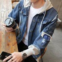 Sonbahar Yeni Kapüşonlu Denim Ceket Erkekler Moda Sahte Streetwear Bombacı Ceket ve Ceket Adam Iki Adet Adam Kovboy Giysileri Erkek M-3XL