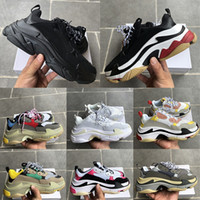Factory Direct Paris Triple-S Casual Dad Chaussures Mens Femme Triple Triple Noir Blanc Gym Gym Red Gris Plateforme Lovers Sneakers EUR 36-45
