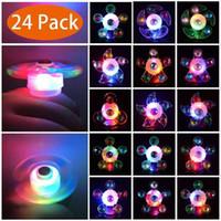 Navidad llevó Fidget Spinners 36 luz de flash Chrome con interruptor electrochapa la mano de cristal Spinner Peonza Juguetes metálico de color
