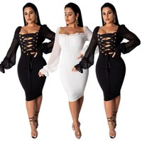 2020 Eyelet Lace Up Sexy Solid Pencil Dress Women Square Col...