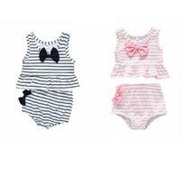 فتاة ملابس أطفال مخطط ملابس السباحة من قطعتين الطفل BOWKNOT أكمام مايوهات الصيف أزياء الأميرة بيكيني الدعاوى D857