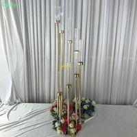 꽃 꽃병 8 머리 캔들 홀더 백 드롭 도로 리드는 테이블 중앙 장식품 골드 금속 기둥 촛대 결혼식 촛대 스탠드 소품
