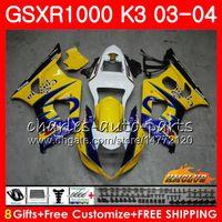 Ram för SUZUKI GSX-R1000 GSXR 1000 GSXR1000 03 04 Kropp 15HC.9 Bodywork GSX R1000 K3 GSXR-1000 03 04 2003 2004 Gul Sale Fairings Kit