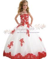2019 Vintage Jewel Neck Flor Meninas Vestidos de Renda Vermelha Apliques de cristal frisado Primeira Comunhão Vestidos meninas pageant dress Para Meninas Aniversário