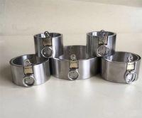Dispositivos de castidad de acero de servicio pesado Bloqueo Brazaletes de sujeción Shackles SM Bondage Steel Fetters Manos Collares Juguetes sexuales