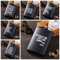 8 oz de acero inoxidable frasco de la cadera Inglés Carta Negro Personalizar Frasco portable al aire libre de la garrafa de whisky Pila de agua bendita del pote del vino de la botella de alcohol VT0819