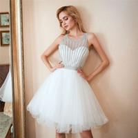 ME008 Scoop Kolsuz Beyaz Mezuniyet Elbise Boru Etek Kısa Balo Elbise Kristal Boncuk Beyaz Parti Elbise