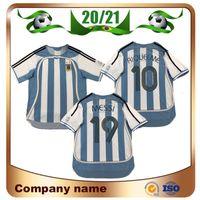 2006 Versão Retro Argentina Soccer Jersey 06/07 Copa do Mundo # 19 Messi # 10 Riquelme Camisa de Futebol # 9 Crespo Futebol Uniforme