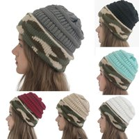Winter Women Knitted Hat Warm camouflage patchwork Wool Hat ...
