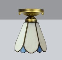 Европейские современные минималистские Тиффани Витражи Средства Средиземноморского прохода Балкона Bay Window Небольшая потолочная лампа TF093