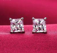 Orecchini hip-hop da uomo Gioielli Alta qualità Quadrato s925 Orecchini in argento simulato con diamanti per uomo