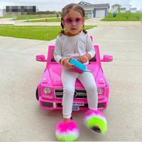 1Pairs / 2pcs Summer Kids Fourrure Pantoufles Fluffy Raccon Fourrure Diapositives Furry Real Fox Fourrure Fourrure Flop Flops Filles Rainbow Chaussures Filles Sandales