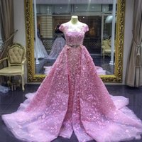 2020 Luxury Mermaid Prom Dresses Pink Detachable Train Lace Appliqued Formal Evening Gowns Elegant Prom Party Dress
