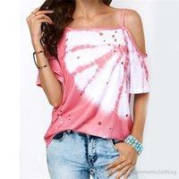 Cacual maglietta irregolare scava fuori Stampato manica corta della maglietta estate delle donne deigner abiti larghi Condole
