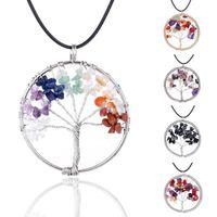 7 Chakra Tree Of Life collane arcobaleno pietra naturale quarzo druzy saggezza pendente albero nero corda string catene per le donne gioielli regalo