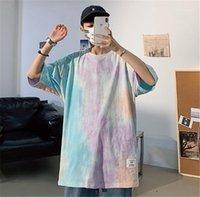Boyut Erkek Tasarımcı tişörtleri Moda Kravat Boyalı Kısa Kollu Oversize Tees Hip Hop Erkek Yaz Plus'ı Tops