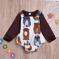 Summer Fashion Cute Children Toddler Kid Baby Girl Clothes Top Cartoon Stampa manica lunga O-Neck Pagliaccetto comode abiti set