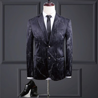 Black Mens Suit Luxurious Velvet Print Design Fine Stylish Q...