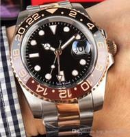 نموذج جديد السيراميك الحافة الفولاذ المقاوم للصدأ حزام GMT II Cerachrom الأسود - براون مدي 40MM التلقائية روز الذهب الرجال ووتش الساعات