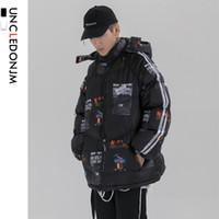 UNCLEDONJM Pamuk yastıklı Puffer Parkas Streetwear Kış Hip Hop Harajuku Casual Kalın Sıcak Parka Kapşonlu Kış Ceketler Erkekler L001