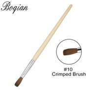 wholesale 1PCS Crimped Brush Nail Art Brush #10 #12 Wood Han...