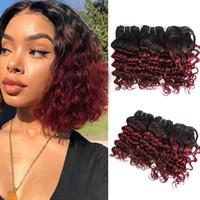 Brasiliani Deep Curly Capelli Tessuti Bundles Bundles Human Hair Bundles Ombre Borgogna 3pcs / Set per la testa piena 8-10 pollici REMY REMY HAMM EXTENSIONS