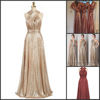 Sparkly Convertible Gold Sequin Bridesmaid Dresses A- line Lo...