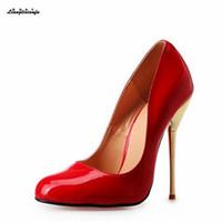 LLXF Artı: 40-45 46 47 48 49 50 Drop Shipping Stiletto 14 cm Metal ince topuklu kadın Kırmızı / Çıplak elbise ayakkabı Pantent Deri pompaları