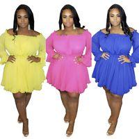 Artı Boyutu Kadın Elbise Moda Seksi Katı Renk Giyim Uzun Kollu Günlük Elbiseler Slash Boyun Elbise Yaz Sıcak Satış XL-5XL Giysi 3167
