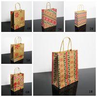 Presente de Natal Sacos Com Handle impresso Kraft Paper Bag Kids Party Favors Bolsas Decoração de Natal Box Início Xmas bolo Bag DBC VT1122