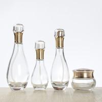 60 100 150 ML Leere Nachfüllbare Bowling Geformt Klarglas Lotion Pumpe Flaschen Kosmetik make-Up Creme Container Dispenser Gläser Topf Gold Sprayer