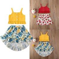 Conjuntos de ropa PUDCOCO 2 UNIDS NIÑOS NIÑOS BEBY Girls Ropa de verano Sling Tops + Falda Dress Outfit Set