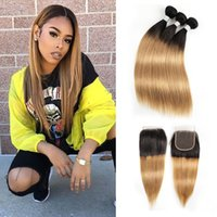 Peruvian Silky Straight Hair Bundles With Closure Color 1b 2...