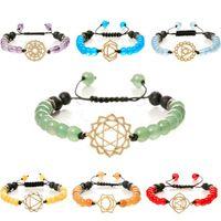 aço inoxidável jóias pulseiras lava naturais de pedra de cristal pulseiras de contas coloridas para mulheres moda quente