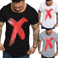 2020 Erkek Tasarımcı Yeni Baskılı Lüks Tişörtlü Erkekler Big X Casual Kazak Yuvarlak Yaka Kısa Kollu Avrupa ve Amerika Toptan yazdır