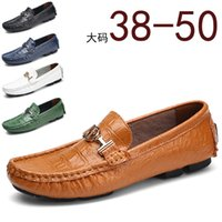 Main Chaussures Grande Taille En Cuir Véritable Hommes Appartements Chaussures Mocassin Design De Luxe Souple Crocodile En Cuir Hommes Chaussures Mode