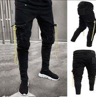 Mens Black Cargo Jeans Destroyed effilochés Jeans Slim Fit Biker Big Pocket Crayon Denim Pants Taille Plus S-3XL Homme Pantalon Trendy