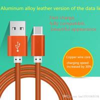Cabo USB 2.1a versão de couro de liga de alumínio high-end da linha de dados Charge rápido Android Smartphone com embalagens de varejo