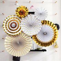 6pcs hot gold Paper Fan Flower Manual Three-dimensional Paper Folding Fan Lahua Festival Party Decoration Origami Fan Flower Hanging Jewel