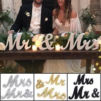 Estilo de madera de la vendimia Sr. y la Sra rústico signo Sr Sra Letters signos de novia para la boda de mesa, accesorios de fotos, tabla de partido, Top Cena, Weddi rústico