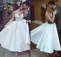 Satin Wedding Dresses Ankle- Length Ruched Spaghetti Straps E...