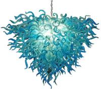 Chegada nova azul extravagante Art Glass Chandelier teto mão soprado Murano LED Vidro Candelabro luminárias para sala